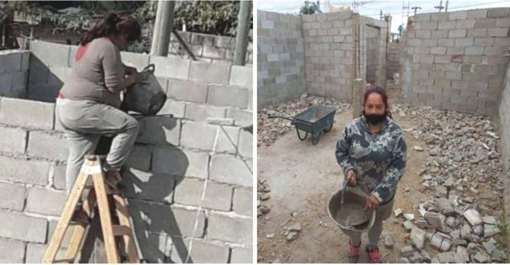 Con 4 hijos y sin dinero para pagarles a los albañiles construye sola su propia casa