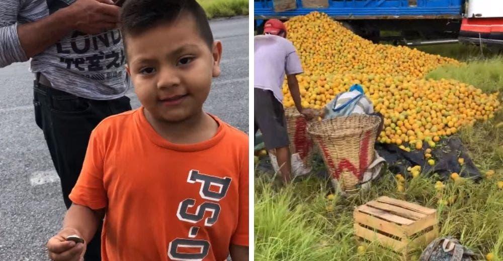 Graban al humilde niño que se acercó a pedir naranjas al lugar donde se volcó un camión