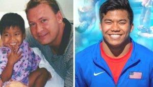 El niño huérfano y enfermo adoptado por un hombre soltero triunfa en los Juegos Olímpicos