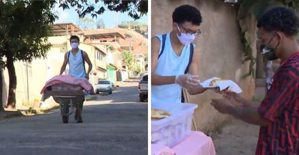 Conmueve a sus clientes vendiendo en la calle los panes que hace su madre