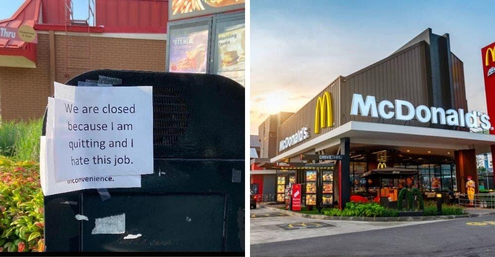 Renuncia a su trabajo en McDonald's y deja un mensaje frente al restaurante- «Odio este trabajo»