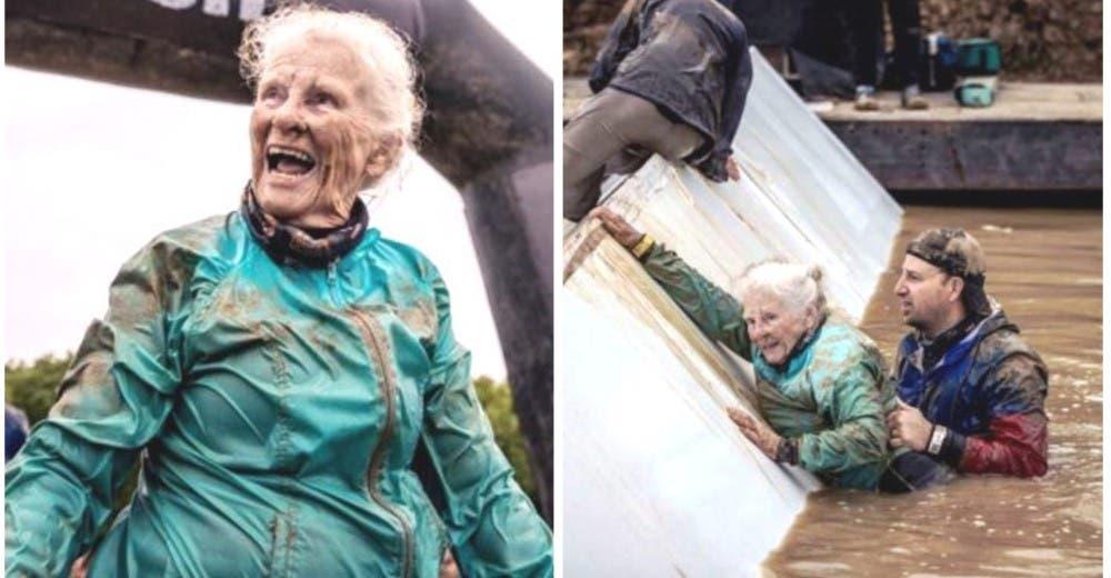 A los 82 años usa todas sus fuerzas para superar la carrera de obstáculos más difícil del mundo