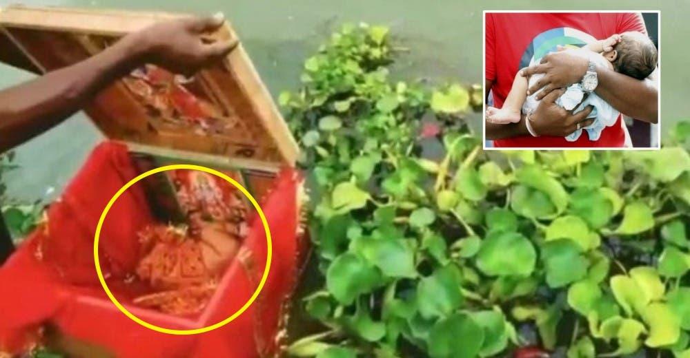 Abren la caja que flotaba en el río y encuentran a una bebé recién nacida