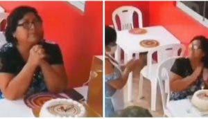 Se unen para alegrar a la mujer que celebraba su cumpleaños sola en su restaurante