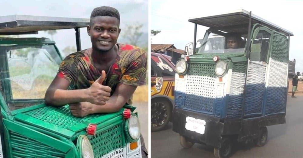Un joven de 24 años fabrica un auto con basura para que discapacitados puedan movilizarse