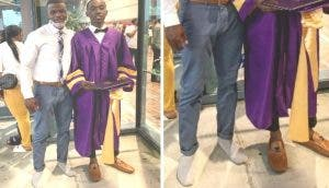 Su profesor le presta sus zapatos porque no querían darle su diploma en la graduación