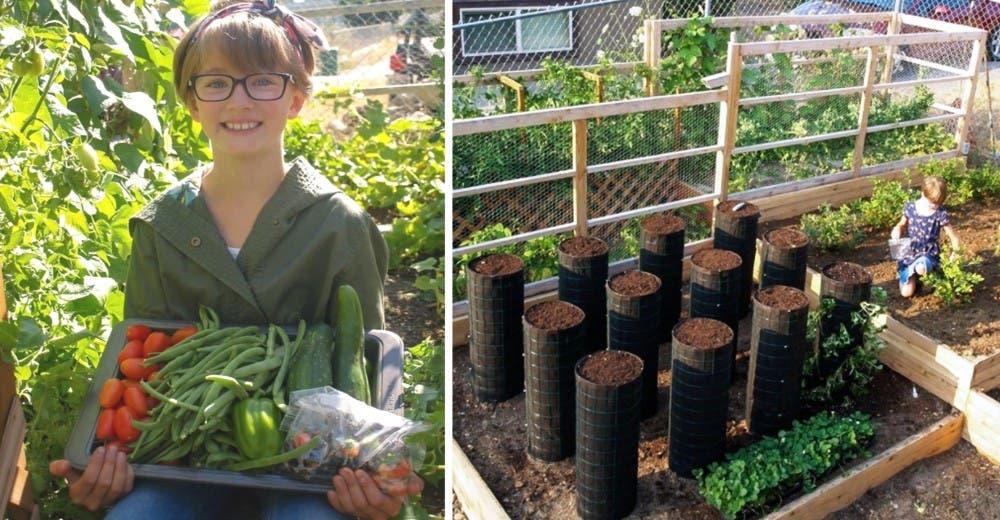 Una niña de 10 años construye huertos en jardines para alimentar a personas sin hogar