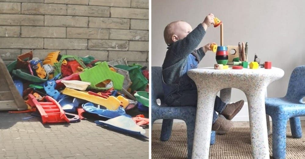 Reciclan el plástico de los juguetes dañados para fabricar muebles infantiles