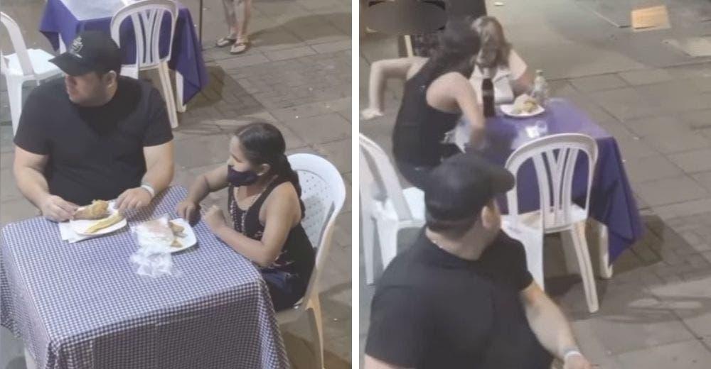 Una niña invita a comer de su propio plato a la humilde mujer que pedía ayuda para alimentarse