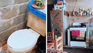 Una mujer presume orgullosa su humilde casa hecha de láminas con mucho esfuerzo