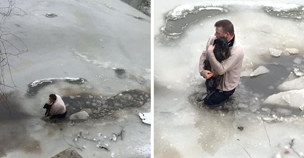 Un hombre salta a las aguas congeladas con tal de salvar a un perrito que estaba atrapado