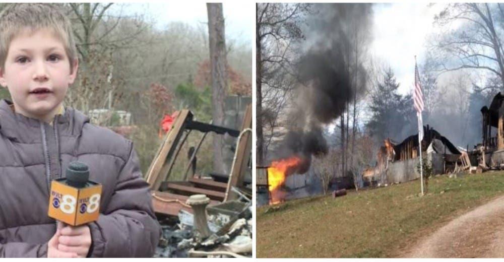 Un niño de 7 años entra a su casa en llamas para salvar la vida de su hermanita de pocos meses
