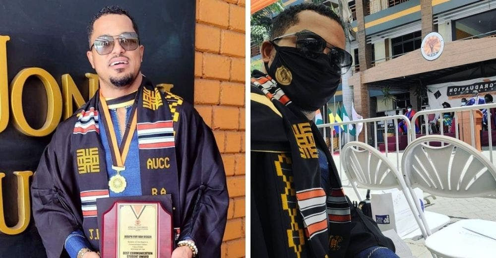 Celebra haberse graduado con honores de la universidad 21 años después que su clase
